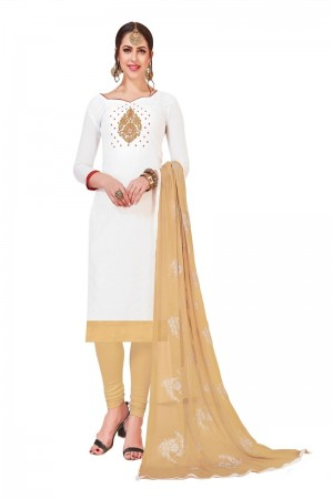 White Modal Silk Dress Material