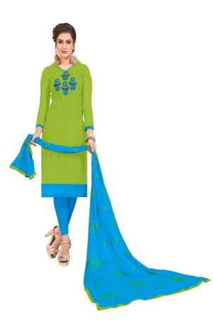 Green Modal Silk Dress Material