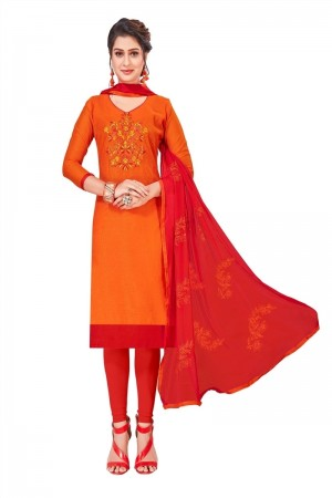 orange Modal Silk Dress Material