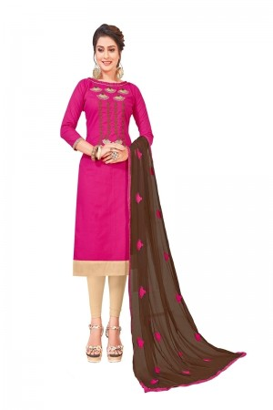 Pink South Cotton Slub Dress Material