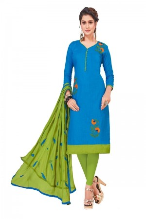 Sky blue South Cotton Slub Dress Material