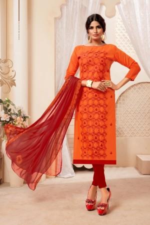 Orange Modal Silk Dress Material