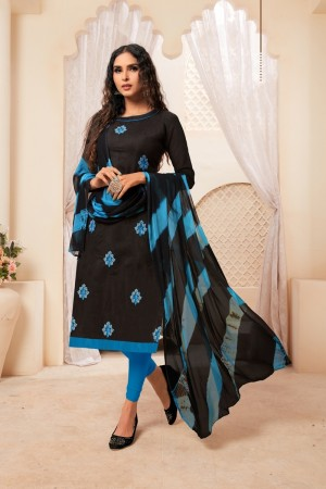 Black Modal Silk Dress Material