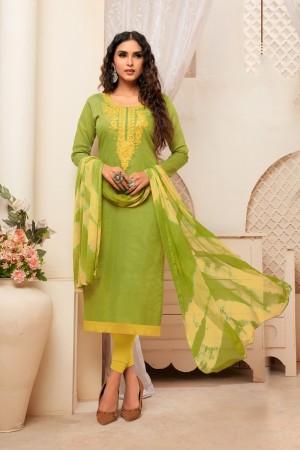 Light Parrot Green Modal Silk Dress Material
