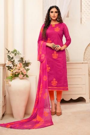 Pink Modal Silk Dress Material