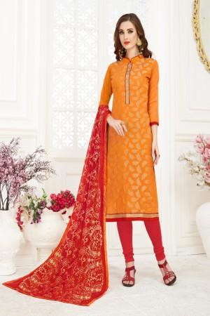 Orange Banarasi Jacquard Dress Material