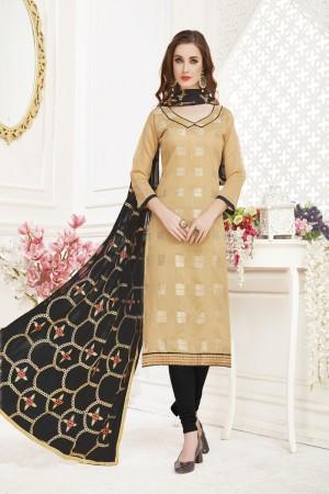 Chiku Banarasi Jacquard Dress Material