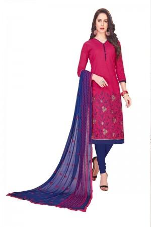 Pink South Cotton Slub Dress Material