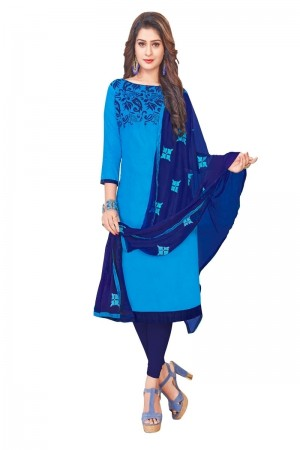 Blue Glass (satin)Cotton Dress Material