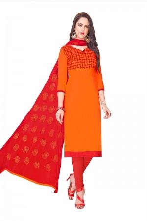 Orange Glass (satin)Cotton Dress Material