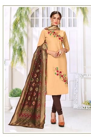 Cream Handloom Cotton Dress Material