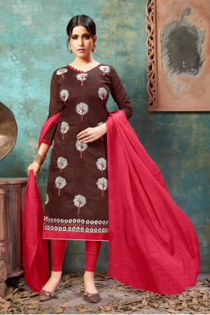 Brown Chanderi Cotton Dress Material