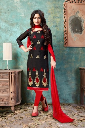 Black Chanderi Cotton Dress Material