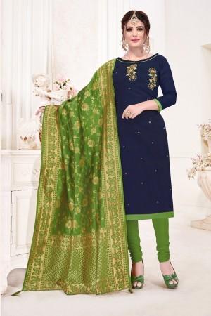 Navy Blue Cotton Flex Dress Material
