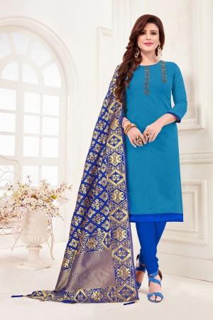 Light Blue Cotton Flex Dress Material