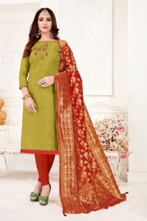 Olive Cotton Flex Dress Material