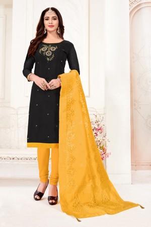 Black Cotton Flex Dress Material