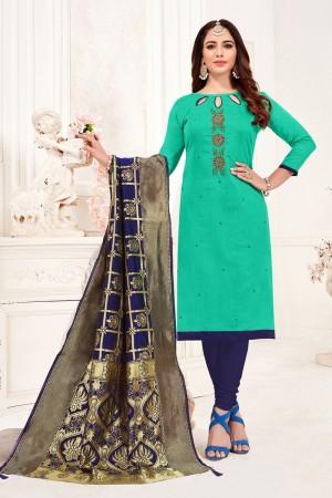 Turquoise Cotton Flex Dress Material