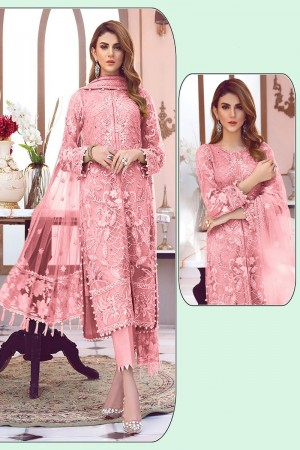 Light Pink Net Salwar Kameez