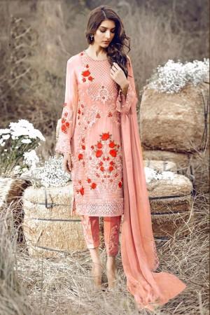 Peach Georgette Salwar Kameez