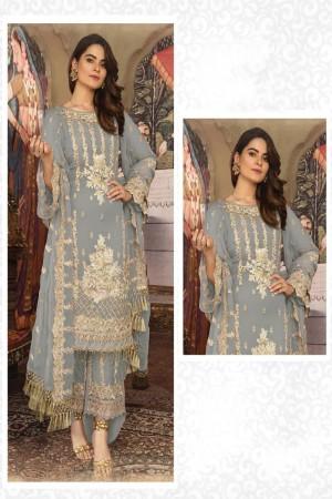 Grey Faux Georgette Salwar Kameez