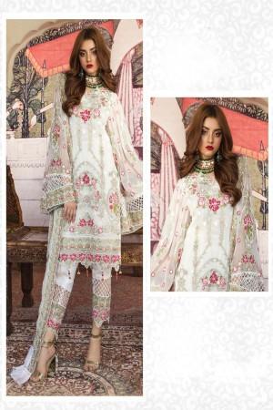 White Faux Georgette Salwar Kameez