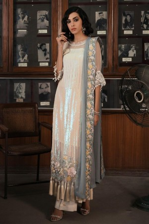 Off White Faux Georgette Salwar Kameez