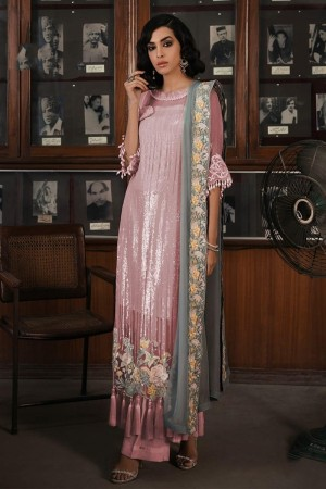 Light Pink Faux Georgette Salwar Kameez