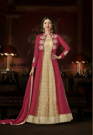 Brilliant Red Faux Georgette Heavy Embroidery  semi stitched salwar suit