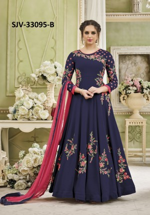 Decent Navy Blue Georgette Heavy Embroidery  semi stitched salwar suit