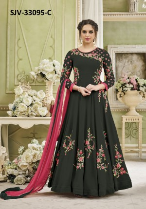 Exquisite Dark Green Georgette Heavy Embroidery  semi stitched salwar suit