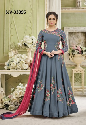 Enigmatic Grey Georgette Heavy Embroidery  semi stitched salwar suit