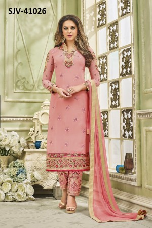 Delightful Pink Faux Georgette Heavy Embroidery  semi stitched salwar suit