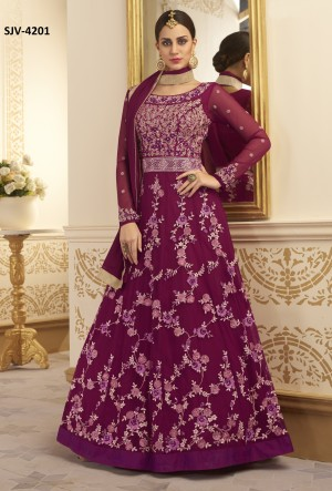 Luscious Wine Heavy silk net Heavy Embroidery  semi stitched salwar suit