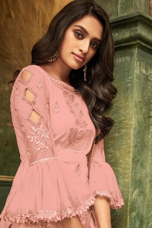 Pink Butterfly Net Salwar Kameez