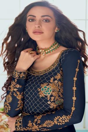 Blue Faux Georgette Salwar Kameez