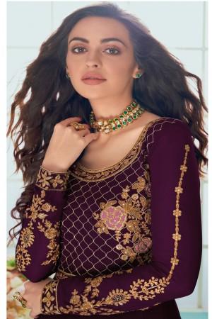 Wine Faux Georgette Salwar Kameez