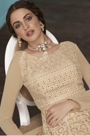 Cream Faux Georgette Salwar Kameez