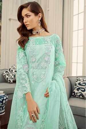 Light Green Net Salwar Kameez