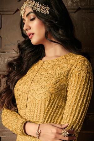 Yellow Net Salwar Kameez