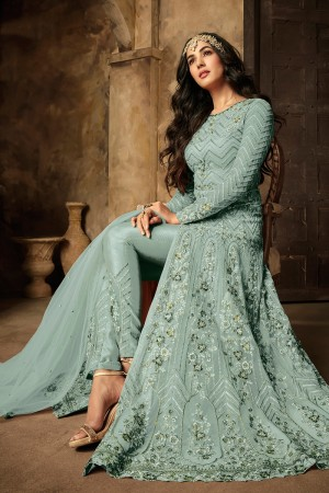 Light Blue Net Salwar Kameez