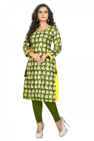Amiable Green Rayon Printed Kurti
