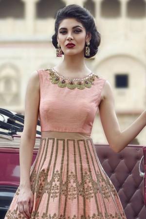 Peach  Banglori And Bhagalpuri Handworked Suit
