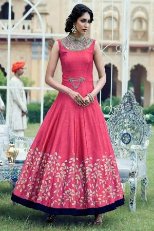 Pink Banglori and Metalic Handwork Suit