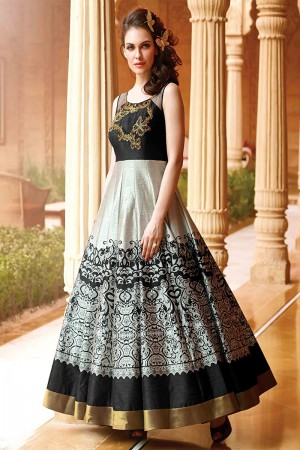 Black Cream Banglori And Bhagalpuri Handwork Suit