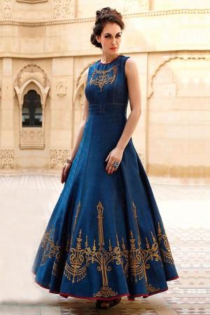Blue Banglori And Bhagalpuri Handwork Suit