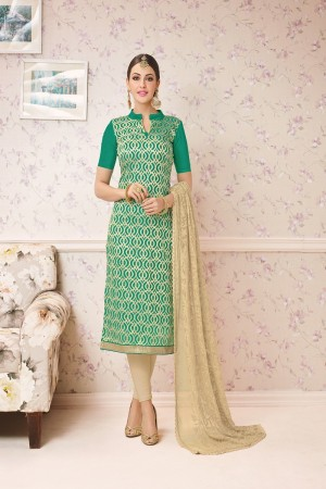 Charming Rama Chanderi cotton Heavy Embroiery Dress Material