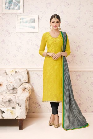 Exuberant Yellow Chanderi cotton Heavy Embroiery Dress Material