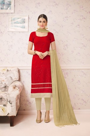Awesome Red Chanderi cotton Heavy Embroiery Dress Material