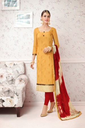 Dynamic Yellow Chanderi cotton Heavy Embroiery Dress Material